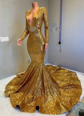 Sparkly Gold Mermaid Prom Dresses | Deep V-Neck Long Sleeves Evening Gowns_1