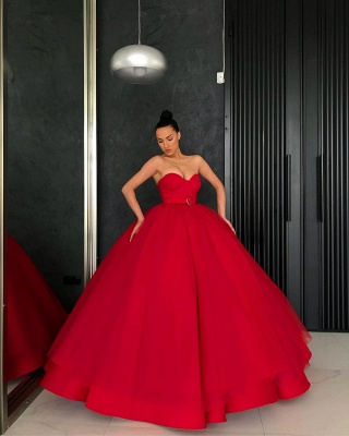 Elegant Red Ball Gown Prom Dresses | Sweetheart Sleeveless Sashes Long Quinceanera Dresses_2