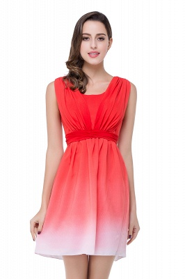 2021 Ombre Red Bridesmaid Dresses Short Chiffon Ruched Summer Beach Wedding Party Dresses_3