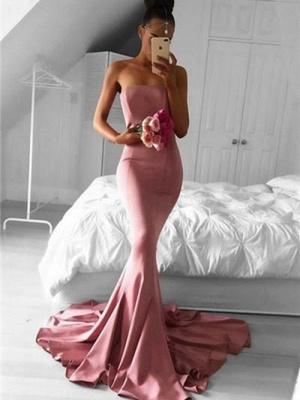 Simple Mermaid Evening Dresses | Strapless Long Prom Dresses_3
