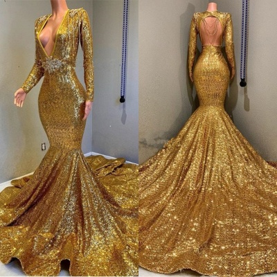 Sparkly Gold Mermaid Prom Dresses | Deep V-Neck Long Sleeves Evening Gowns_2