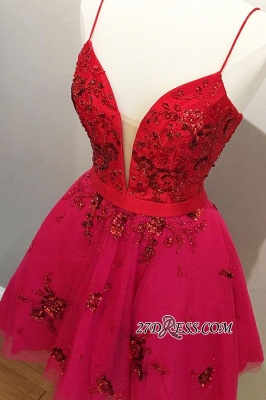 Beaded A-line Short Spaghetti-straps Applique Homecoming Dresses_1