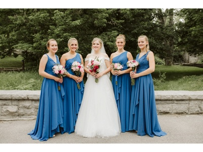 Simple Chiffon A-Line Bridesmaid Dresses | One Shoulder Ruched Long Maid Of The Honor Dresses_4