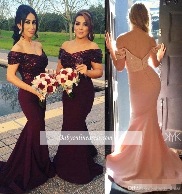 2021 Sexy Off-The-Shoulder Mermaid Long Sleeves Short Sequins Prom Dress_1