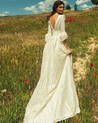 Elegant Lace A-line Wedding Dresses | Half Long Juliet Sleeves Bridal Gowns_2