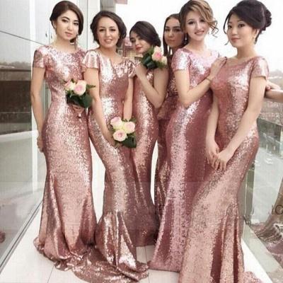 Rose Gold Mermaid Bridesmaid Dresses 2021 Short Sleeves Bling Bling Metallic Wedding Party Dresses_3