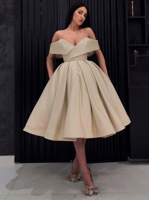 Chic Short A-Line Cocktail Dresses | Off The Shoulder Short Sleeves Homecoming Dresses_1