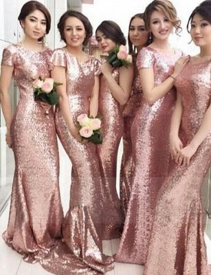 Rose Gold Mermaid Bridesmaid Dresses 2021 Short Sleeves Bling Bling Metallic Wedding Party Dresses_1