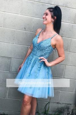 V-neck A-line Short Applique Homecoming Dresses_2