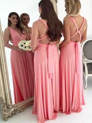 Cheap Chiffon Bridesmaid Dresses V-Neck Sleeveless A-Line Wedding Party Dresses_2