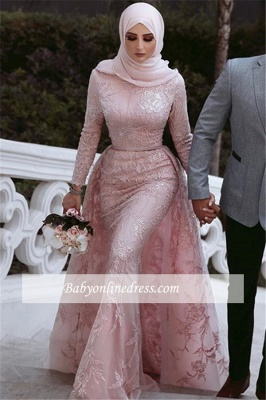 Lace Beading Overskirt Pink Long-Sleeves Appliques Evening Dress_2