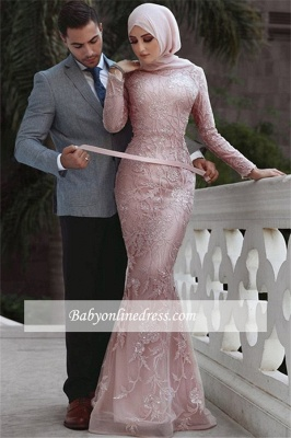 Lace Beading Overskirt Pink Long-Sleeves Appliques Evening Dress_3
