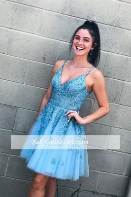 V-neck A-line Short Applique Homecoming Dresses_3