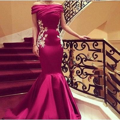 Elegant Mermaid Appliques Prom Dresses 2021 Off-the-Shoulder Ruffles Evening Gowns_2