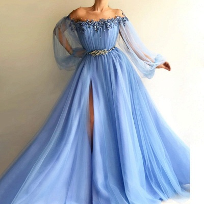 Gorgeous Sky Blue Evening Gowns | Off-the-Shoulder Beading Long Sleeves Formal Dresses_2