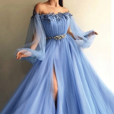 Gorgeous Sky Blue Evening Gowns | Off-the-Shoulder Beading Long Sleeves Formal Dresses_3