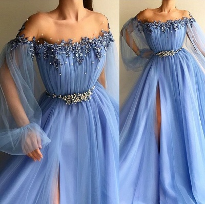Gorgeous Sky Blue Evening Gowns | Off-the-Shoulder Beading Long Sleeves Formal Dresses_4