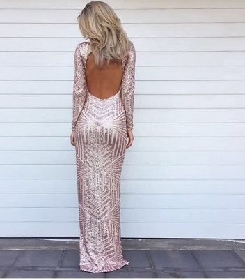Sexy Glitter Long High Low Evening Dresses Sequins Asymmetric Long Sleeve Party Prom Dress_3