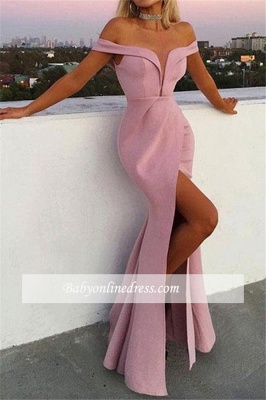 Elegant V-Neck Off-the-Shoulder Evening Dresses | Mermaid Front Split 2021 Prom Gowns_2