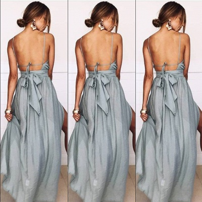 Sexy Slit A-Line Bridesmaid Dresses | Halter Ruched Chiffon Maid Of The Honor Dresses_4