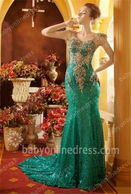 Green Prom Dresses 2021 V Neck Beading Crystal Appliques Short Sleeve Sweep Train Mermaid Evening Gowns_1