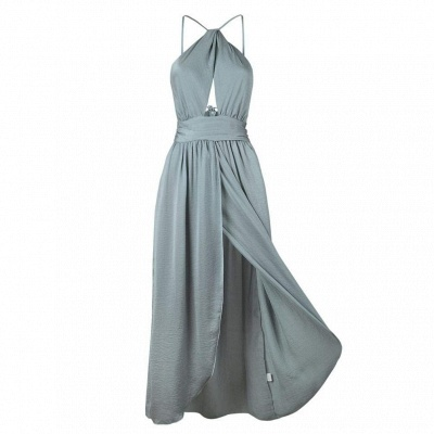 Sexy Slit A-Line Bridesmaid Dresses | Halter Ruched Chiffon Maid Of The Honor Dresses_6