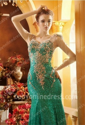 Green Prom Dresses 2021 V Neck Beading Crystal Appliques Short Sleeve Sweep Train Mermaid Evening Gowns_2