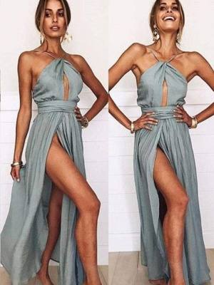 Sexy Slit A-Line Bridesmaid Dresses | Halter Ruched Chiffon Maid Of The Honor Dresses_1