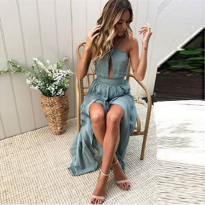 Sexy Slit A-Line Bridesmaid Dresses | Halter Ruched Chiffon Maid Of The Honor Dresses_2