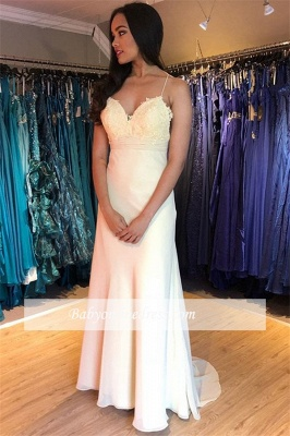 Elegant Spaghetti-Straps Evening Dresses | Sheath Appliques 2021 Formal Gowns_1