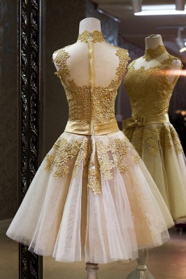 2021 Cocktail Dresses Sleeveless High Neck Lace Appliques Tulle Princess Homecoming Dresses_2