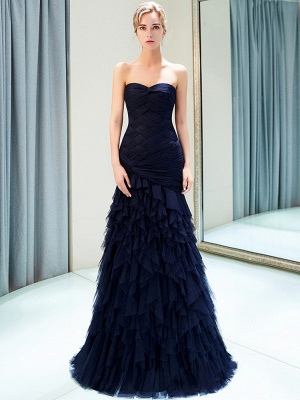 Elegant Dark Navy Mermaid Evening Dresses | Sweetheart Ruched Tiered Prom Dresses_2
