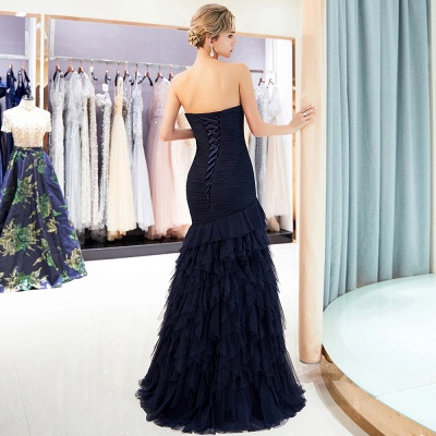 Elegant Dark Navy Mermaid Evening Dresses | Sweetheart Ruched Tiered Prom Dresses_4
