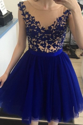 2021 Royal Blue Homecoming Dresses Bateau Neck Open Back Short Party Dresses_5