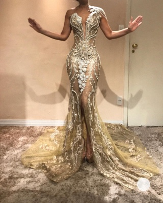 Luxury Gold Mermaid Evening Dresses   V-Neck One Shoulder Beading Slit Prom Dresses BC0614_2