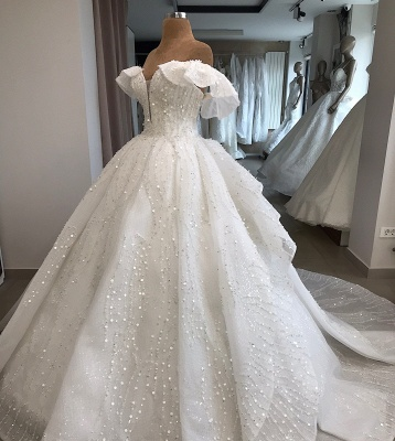 White Sequined Alluring Off-the-shoulder Beaded Ball-Gown Wedding Dresses_3