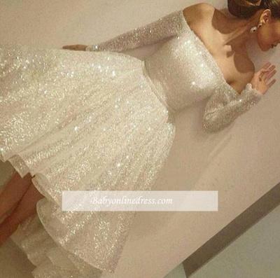Short Bling Off-the-Shoulder Long-Sleeves Tiers-Skirt Bling Prom Dresses_1