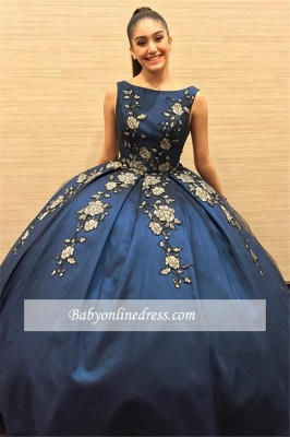 Attractive Sleeveless Appliques Bateau Ball-Gown XV Dresses_2