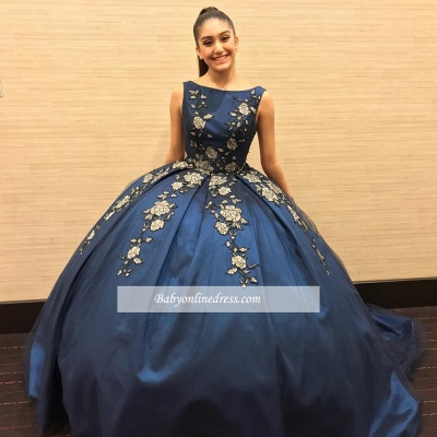 Attractive Sleeveless Appliques Bateau Ball-Gown XV Dresses_1