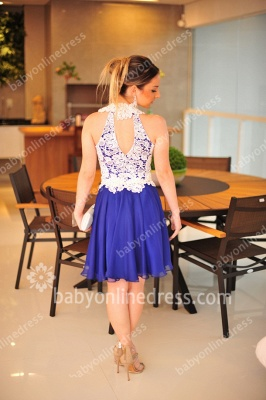 Mini Short Cocktail Dresses Crew Sleeveless Hollow Back Chiffon Lace Applique Pearls Beaded Sexy Prom Gowns BO3673_3