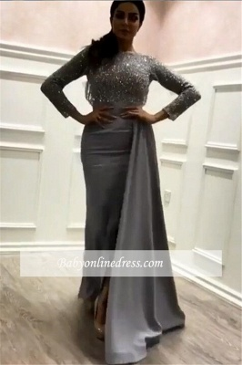 Glamorous Long Sleeves Sheath Prom Dresses | Tassels  Sequins Long Evening Gowns_3
