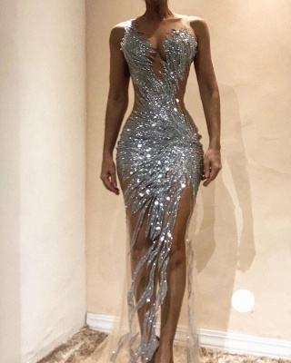 Sexy Silver Sequin Prom Dresses | Sexy Sheer Long Evening Gowns_2