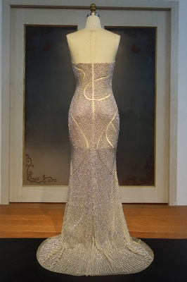 Luxury Beading Mermaid Evening Gowns | Sexy Sheer Slit Formal Dresses_1