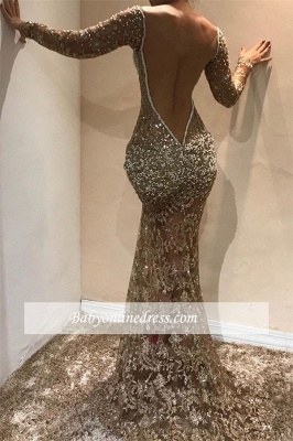 Sexy Long-Sleeves Lace Slim Evening Dresses | Backless Sequins Mermaid Prom Dresses_1