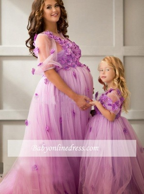 Ball-Gowwn Sweep-Train Maternity Appiluqes Half-Sleeves Flowers Tulle Evening Dress_3