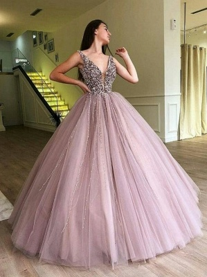 Luxury Ball Gown A-Line Prom Dresses | V-Neck Sleeveless Beading Puffy Evening Dresses_1