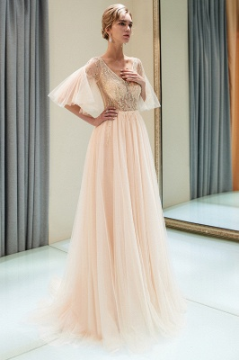 Sparkly Beading A-Line Evening Dresses | V-Neck Trumpet Sleeves Tulle Prom Dresses_5