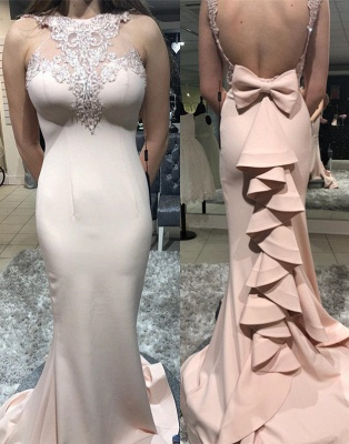 Sexy Open Back Ruffles Halter Party Dresses   Cheap Appliques Mermaid Bow Prom Dresses_3