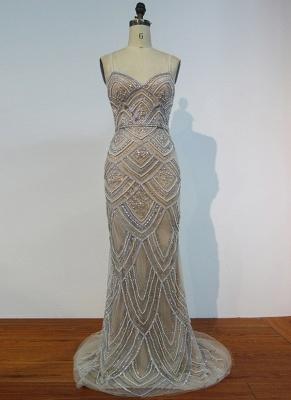 Luxury Spaghetti Straps Evening Gowns | Shiny Beading Mermaid Prom Dresses_1