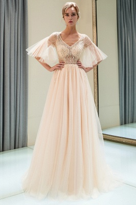 Sparkly Beading A-Line Evening Dresses | V-Neck Trumpet Sleeves Tulle Prom Dresses_4